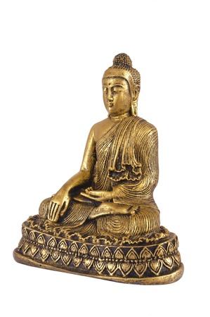 chinese buddha: chinese buddha sculpture isolated over white background Stock Photo