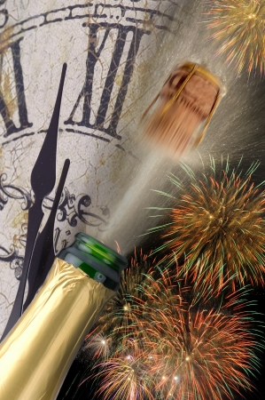 popping champagne  and watch at new year