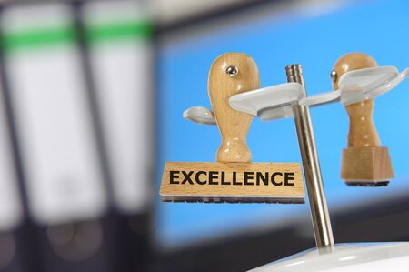 rubber stamp marked with excellence photo