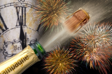 popping champagne with firework at new year 2013 Imagens