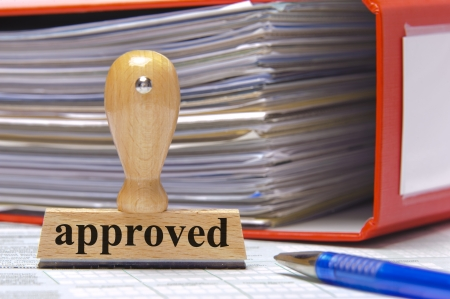 authorized: rubber stamp in office marked with approved Stock Photo