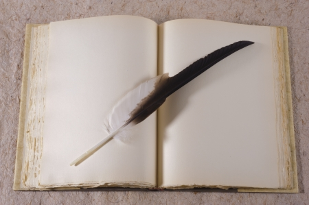 open antique book with feather photo