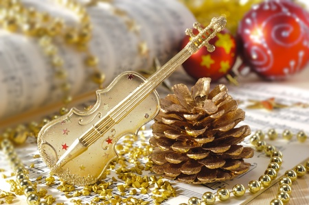 Christmas decoration with violin Stock Photo