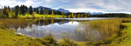 panoramic nature: panorama view over beautiful rural landscape nearby city Fuessen in Bavaria, Germany