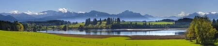 quiet scenery: panorama view over beautiful rural landscape nearby city Fuessen in Bavaria, Germany