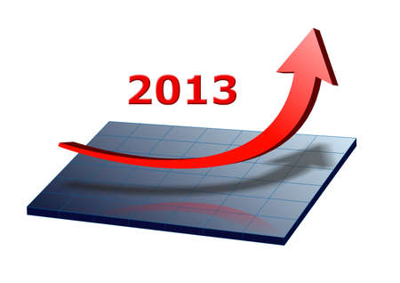 arrow shows success and growth for 2013 Stock Photo - 16185820