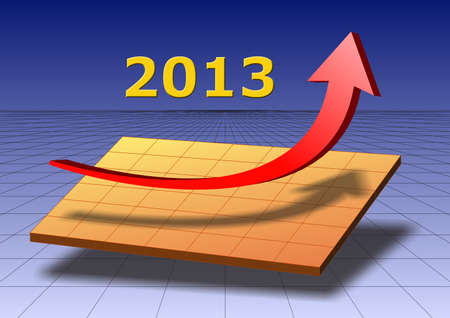 arrow shows success and growth for 2013 Stock Photo - 16185821