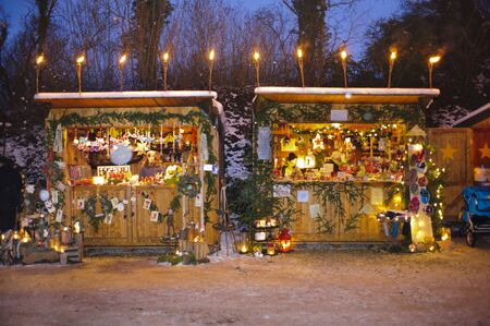 Romantic Christmas market with illuminated shops for gift and decoration on December 2, 2012 in Pappenheim, Bavaria, Germany  Stock Photo - 16768231
