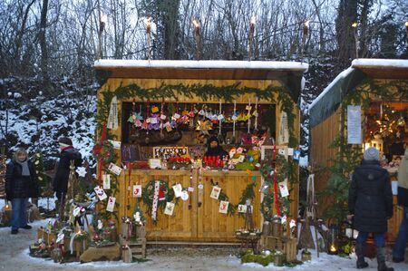 Romantic Christmas market with illuminated shops for gift and decoration on December 2, 2012 in Pappenheim, Bavaria, Germany  Stock Photo - 16768236