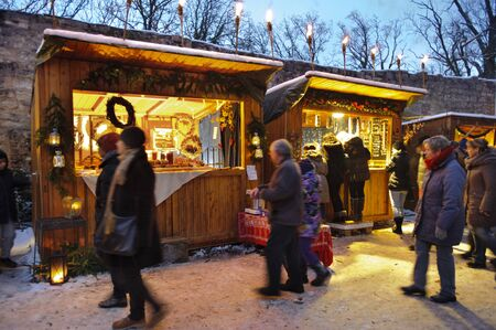 Romantic Christmas market with illuminated shops for gift and decoration on December 2, 2012 in Pappenheim, Bavaria, Germany
