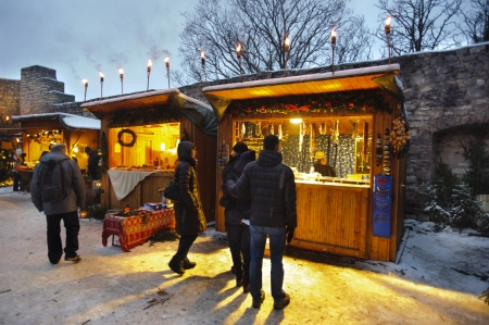 Romantic Christmas market with illuminated shops for gift and decoration on December 2, 2012 in Pappenheim, Bavaria, Germany  Stock Photo - 16768228