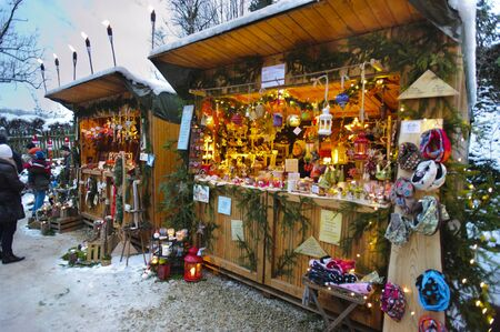 Romantic Christmas market with illuminated shops for gift and decoration on December 2, 2012 in Pappenheim, Bavaria, Germany  Stock Photo - 16768230