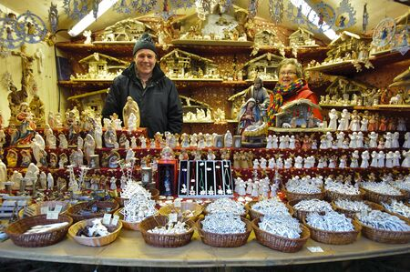 BAD HINDELANG, GERMANY - DECEMBER 4: Romantic Christmas market with illuminated shops for gift and decoration on December 4, 2012 in Bad Hindelang, Bavaria, Germany