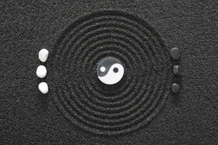 circulos concentricos: jard�n zen en arena Foto de archivo