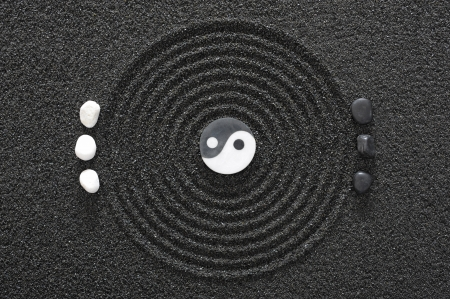 concentric circles: zen garden in sand