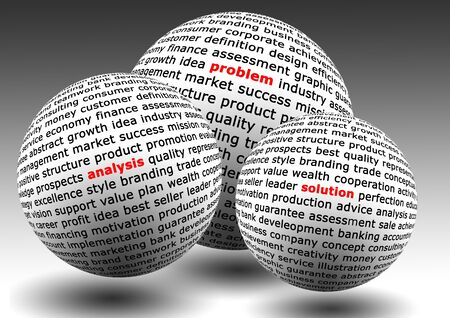 financial world: balls with business words of problem, analysis and solution Stock Photo