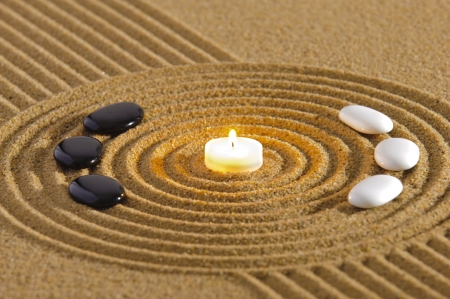 zen garden: zen garden with yin and yang