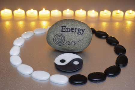 zen garden with yin and yang photo