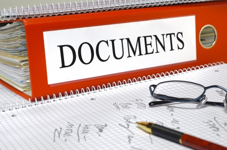 file folder in office marked with documents