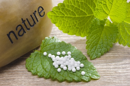 alternative medicine with herbal pills photo
