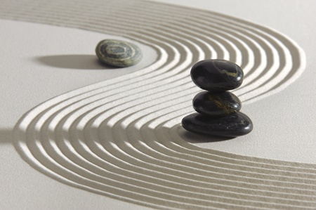 Japanese ZEN garden in sand with stacked stones photo