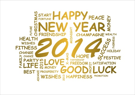 word cloud for new year 2014 Stock Photo - 18597466