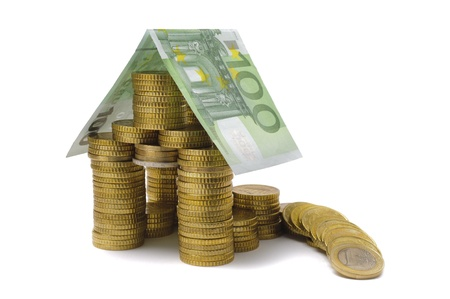damage at euro house as symbol for euro crises photo