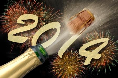A�o Nuevo 2014 con el champ�n Foto de archivo - 19407602