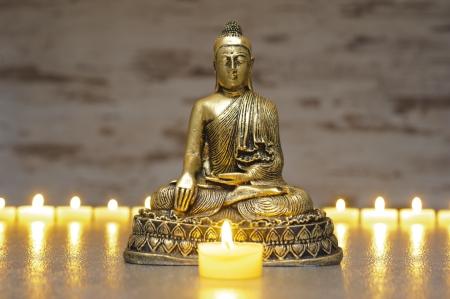 Japan zen garden with Buddha photo