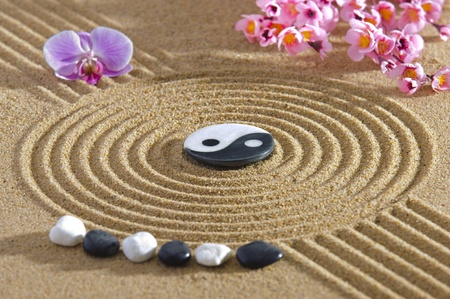 Japan zen garden with yin and yang Stock Photo - 19407587