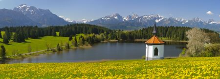 panorama view to beautiful landscape at alps mountains in bavaria, germany photo