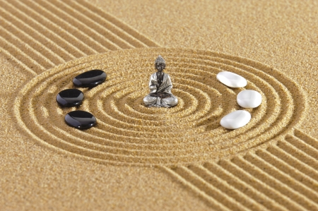 Japanese zen garden with sand and stones Stock Photo - 19667030