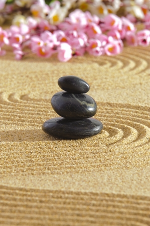 Japanese zen garden with sand and stones photo