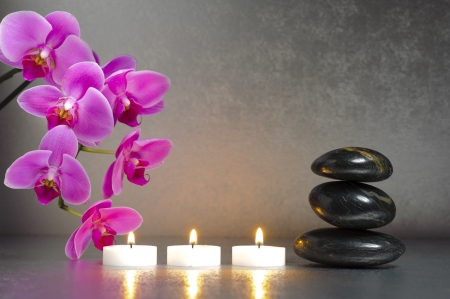 zen candles: Japanese zen garden with candle lights and stones