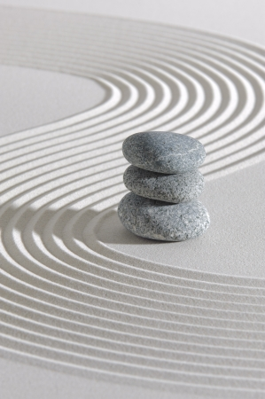 Japanese zen garden with sand and stones Stock Photo - 19666994