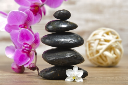 Japan zen garden with stacked stones and orchid flower Stock Photo - 20301544