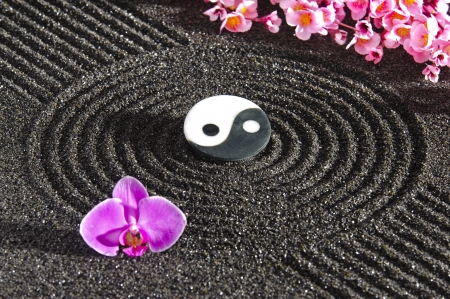 Japanese zen garden with yin and yang stone in sand