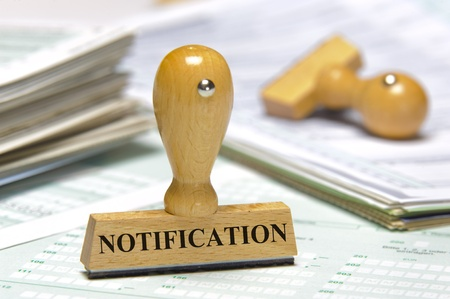 notification: notification marked on rubber stamp
