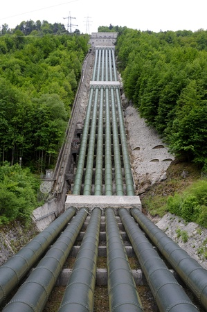 tube station: big pipes of hydro electric power station in germany
