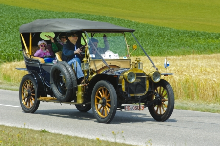 bolide: LANDSBERG, GERMANY - JULY 13: Oldtimer rallye for at least 80 years old antique cars with Duhanot CG Bolide, built at year 1907, photo taken on July 13, 2013 in Landsberg, Germany
