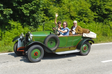 bl: LANDSBERG, GERMANY - JULY 13: Oldtimer rallye for at least 80 years old antique cars with Peugeot BL 177, built at year 1923, photo taken on July 13, 2013 in Landsberg, Germany