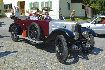 LANDSBERG, GERMANY - JULY 12: Oldtimer rallye for at least 80 years old antique cars with Vauxhall open Tourer D-Type, built at year 1918, photo taken on July 12, 2013 in Landsberg, Germany