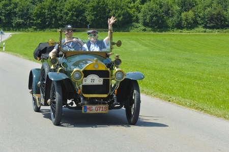 LANDSBERG, GERMANY - JULY 12: Oldtimer rallye for at least 80 years old antique cars withBenz 820, built at year 1912, photo taken on July 12, 2013 in Landsberg, Germany