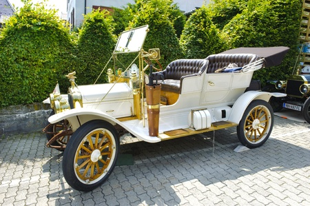 LANDSBERG, GERMANY - JULY 12: Oldtimer rallye for at least 80 years old antique cars with White GA , built at year 1910, photo taken on July 12, 2013 in Landsberg, Germany