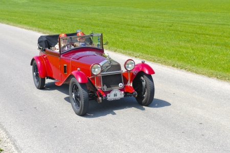 romeo: LANDSBERG, GERMANY - JULY 12: Oldtimer rallye for at least 80 years old antique cars with Alfa Romeo C 1750 SS, built at year 1929, photo taken on July 12, 2013 in Landsberg, Germany