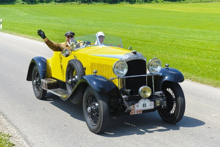 LANDSBERG, GERMANY - JULY 12: Oldtimer rallye for at least 80 years old antique cars with Vauxhall Hurlingham 2060, built at year 1929, photo taken on July 12, 2013 in Landsberg, Germany