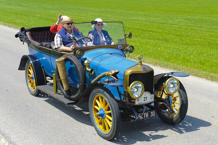 LANDSBERG, GERMANY - JULY 12: Oldtimer rallye for at least 80 years old antique cars with Delage Tourer, built at year 1915, photo taken on July 12, 2013 in Landsberg, Germany
