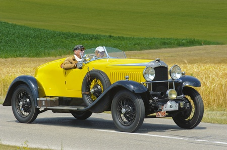LANDSBERG, GERMANY - JULY 13: Oldtimer rallye for at least 80 years old antique cars with Vauxhall Hurlingham 2060, built at year 1929, photo taken on July 13, 2013 in Landsberg, Germany