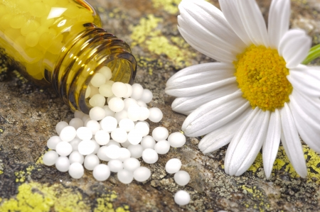 alternative medicine with homeopathy and herbal pills photo