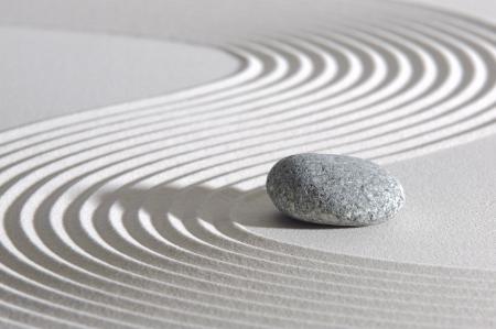 Japan ZEN garden in sand with stone Stock Photo